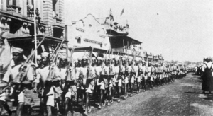 Rhodesian African Rifles - Rhodesia Native Regiment parading in Salisbury, 1916.