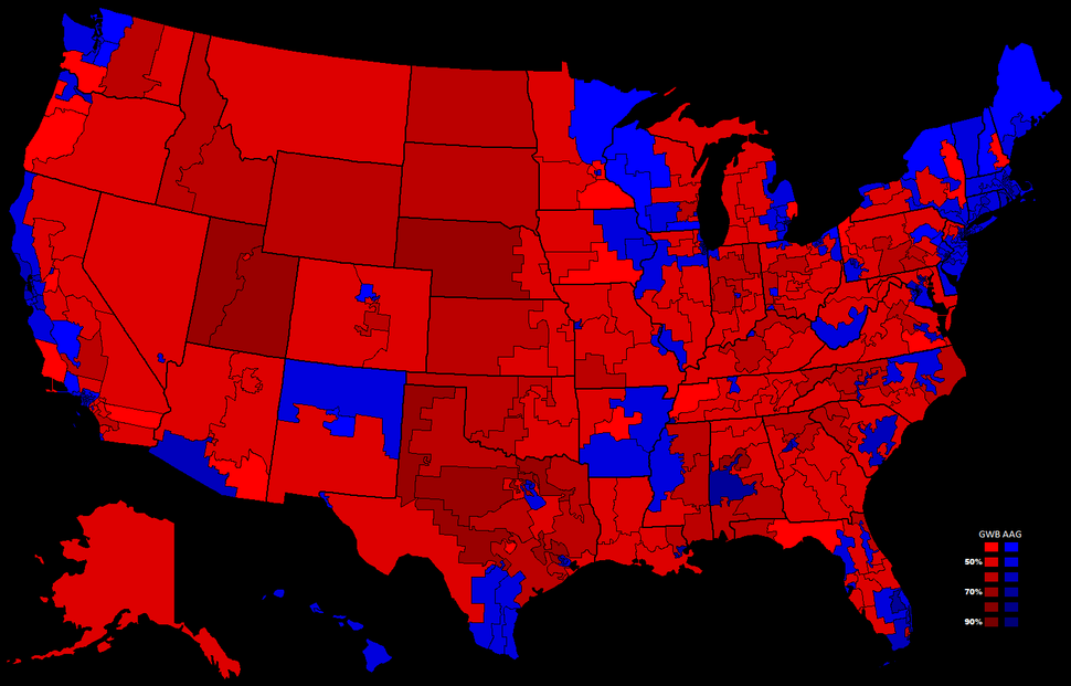 2000 Presidential Election, Results by Congressional District