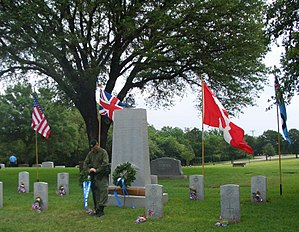 Camp Taliaferro - A guard at the Fort Worth war graves cemetery, Memorial Day 2005, Greenwood Cemetery, Fort Worth, Texas