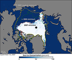 Arctic sea ice coverage as of 2007 compared to 2005 and also compared to 1979-2000 average
