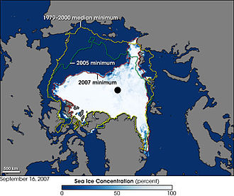 Global warming controversy - Image: 2007 Arctic Sea Ice