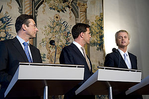Party for Freedom - Maxime Verhagen (left) and Mark Rutte (center) are presenting the coalition agreement with support of the PVV of Geert Wilders (right) in 2010