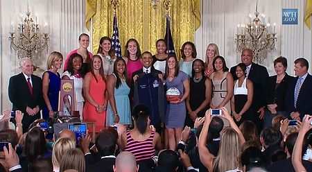 9b19e581c1d The 2013 UConn Women's Basketball team is greeted by President Obama at the  White House