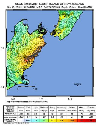 2016 Kaikoura earthquake - USGS ShakeMap for the event