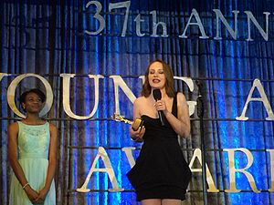 """Mandalynn Carlson - Mandalynn accepts award for Best Actress for her work in """"A Horse For Summer"""" at the 37th Annual Young Artist Awards. Photo credit: S. Carlson 2016. Studio City, Los Angeles, CA."""