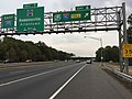 2017-10-06 17 17 47 View east along Interstate 195 (Central Jersey Expressway) at Exit 6 (Interstate 95-New Jersey Turnpike, New York, Delaware Memorial Bridge) in Robbinsville Township, Mercer County, New Jersey.jpg