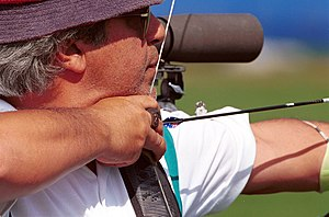 Australia at the 2000 Summer Paralympics - 211000 - Archery Tony Marturano shoots - 3b - Sydney 2000 match photo