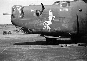 RAF Mendlesham - Douglas-Tulsa B-24H-15-DT Liberator Serial 41-28851 of the 7th Bomb Squadron. This aircraft was damaged during a mission on 24 August 1944 and made an emergency landing in Sweden (MACR 8461). The aircraft was interned until the end of the war then repaired and flown back to the UK in 1945.