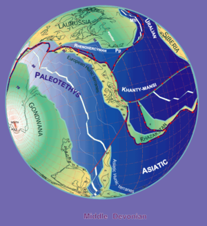 The Paleo-Tethys Ocean opened during the Devonian 380 Ma plate tectonic reconstruction.png