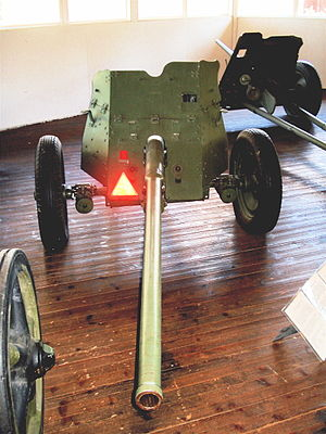 45 mm anti-tank gun M1942 (M-42) - M-42 45 mm anti-tank gun in Finnish Tank Museum in Parola
