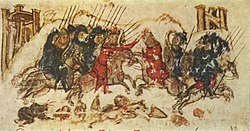 Battle scene of two groups of cavalry with lances