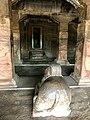 6th century Nandi facing Shiva Linga in sanctum (cave 1), Badami Hindu cave temple Karnataka.jpg