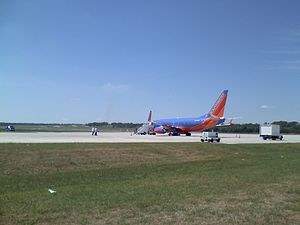 Manhattan Regional Airport - A Southwest Airlines 737-700 operating a military charter
