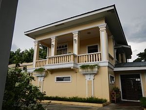 Quezon Heritage House - Side view of the facade of the house building.
