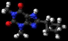 Pilk-kaj-bastona modelo de la 8-CPT molekulo