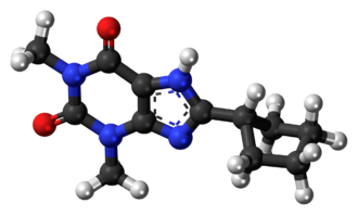 8-Cyclopentyl-1,3-dimethylxanthine - Image: 8 Cyclopentyltheophyll ine 3D ball