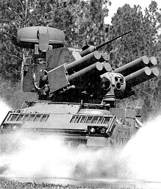 Air Defense Anti-Tank System - Evaluation in 1987 on a Bradley chassis.