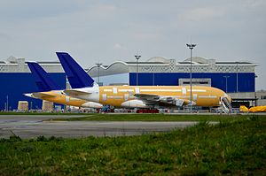 Skymark Airlines - Two of the six Airbus A380's Skymark had on order in long-term storage at Toulouse Blagnac International Airport.