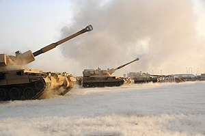 Self-propelled artillery - British AS-90s firing in Basra, Iraq, 2006.