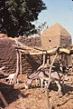 ASC Leiden - W.E.A. van Beek Collection - Dogon lifestock 06 - A donkey and goats in the stable of a house on the plain, Koporo, Mali 1990.jpg