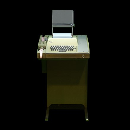 A Teletype Model 33 ASR with paper tape reader and punch, as used for early modem-based computing ASR-33 Teletype terminal IMG 1658.jpg