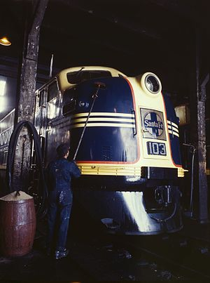 EMD FT - An EMD model FT of the Atchison, Topeka and Santa Fe Railway receives service during World War II.