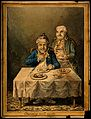 A convalescing man happily eating a meal, assisted by his gr Wellcome V0011199.jpg