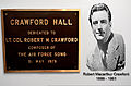 A dedication plaque shows an image of former U.S. Air Force Lt. Col. Robert M. Crawford, the composer of the Air Force song, at Crawford Hall on Langley Air Force Base, Va., July 31, 2012 120731-F-FE339-005.jpg