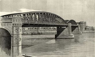 Sukkur District - A drawing of Railway Bridge over Indus - Sukkur (Published in The Engineer)