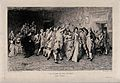 A line of young women are dancing under an arch created by t Wellcome V0040398.jpg