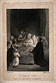A sick patient surrounded by family and visited by a priest. Wellcome V0015225.jpg