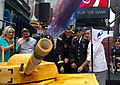 A tank cake designed by Buddy Valastro, right, spews confetti to honor the U.S. Army's 237th birthday in Times Square June 14, 2012, in New York 120614-A-AO884-173.jpg
