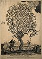 A withered tree bearing apples labelled with sins; represent Wellcome V0007652.jpg