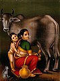 A woman milking a cow with a child, possibly Krishna begging Wellcome V0045075.jpg