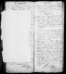 Page de registre manuscrit.