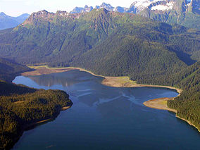 A photo of Windfall Harbor and surrounding forest and mountains from above