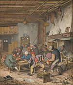 Adriaen van Ostade - Room in an Inn with Peasants Drinking, Smoking and Playing Backgam, 1678 - Google Art Project.jpg