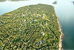Aerial View Winter Harbor, Maine