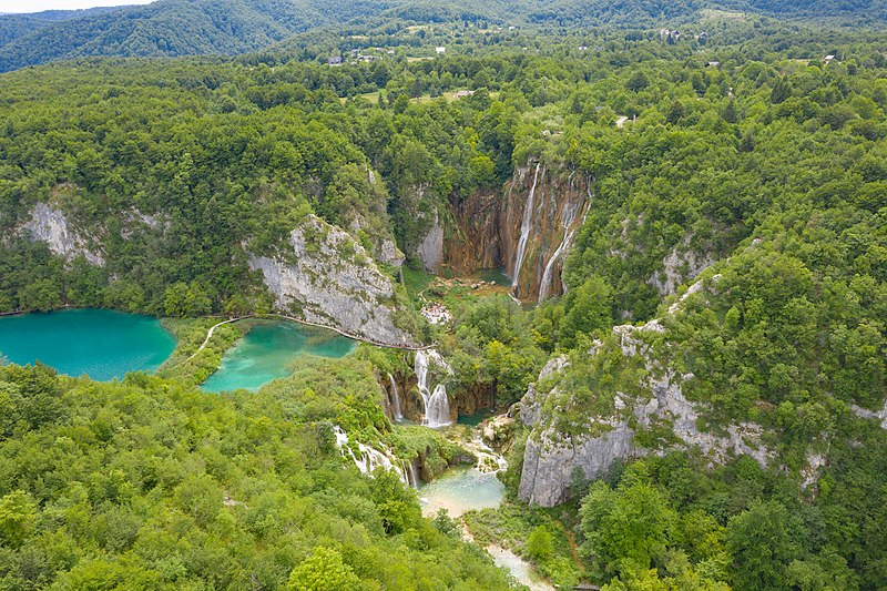Aerial view of the landscape in Plitvice Lakes National Park, Croatia