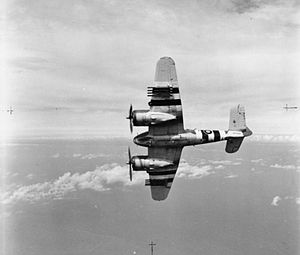 RAF North Coates - A Beaufighter TF Mark X of No. 236 Squadron RAF based at North Coates, showing the rocket rails. The aircraft is painted with invasion stripes.