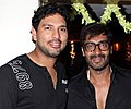 Ajay Devgn, Yuvraj Singh at 'Son of Sardaar' screening.jpg
