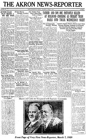 Akron News-Reporter - Image: Akron News Reporter 1st edition