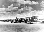 Albany Army Airfield - A line of PT-17 Stearmans in parking area.jpg