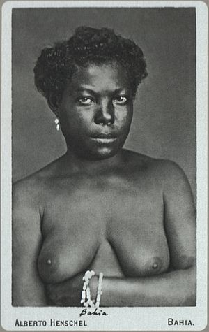 Alberto Henschel - Nude of young Black girl. Salvador, province of Bahia (1869)