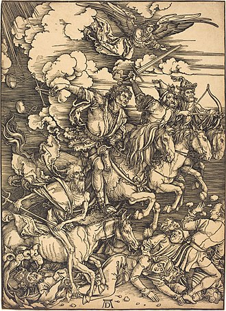 Four Horsemen of the Apocalypse - The Horsemen of the Apocalypse, in a woodcut by Albrecht Dürer (ca. 1497–98), ride forth as a group, with an angel heralding them, to bring Death, Famine, War, and Conquest unto man.