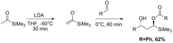Aldol–Tishchenko reaction starting from acetyl trimethylsilane and acetaldehyde