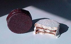 "Two alfajores (with ""black"" and ""white"" chocolate)"