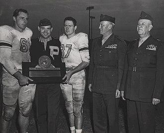 Robert H. Pepper - CPT Don King; Parris Island Head Coach, MJR John T. Hill; CPT Billy Hayes; Lieutenant General Graves B. Erskine (Fleet Marine Force, Atlantic) at the Norfolk Naval Base and Major General Robert H. Pepper (MCRDPI), 1952 - All Marine Champions.