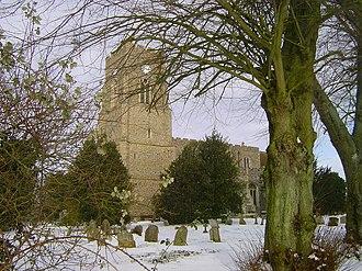All Saints' Church, Lawshall - Image: All Saints Church in winter