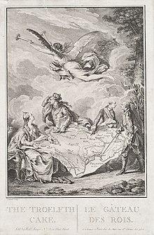 Katharina II. (ganz links) teilt sich Polen mit JosephII. und FriedrichII. von Preußen (ganz rechts) wie einen Kuchen auf, während der polnische König StanislausII. August sich verzweifelt an die Krone greift (Karikatur Le gâteau des rois von Jean-Michel Moreau, 1773) (Quelle: Wikimedia)